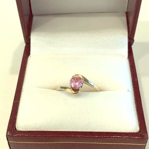 Pink Tourmaline 14 K gold ring
